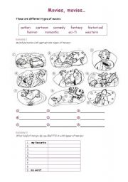 English Worksheet: MOVIES, MOVIES...