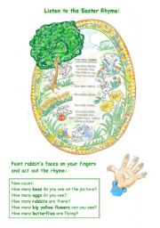 English Worksheets: EASTER RHYME WITH EXERCISES