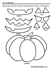 Cut And Paste Halloween Worksheets Printables Sketch Coloring Page