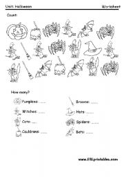 English Worksheet: Halloween: count