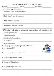 Printables Continuous Tense Worksheet present tense and continuous english worksheet tense