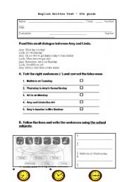 English Worksheets: Test - Time and Abilities