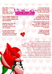 english worksheets valentines day rhymes