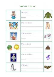 English Worksheets: taTAKE OFF / PUT ON