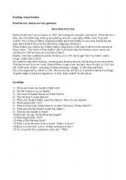 English worksheet: beatrix potter    reading comprehension