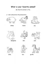 English Worksheets: what�s your favorite animal?