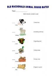 English Worksheets: Old MacDonald�s animals sounds