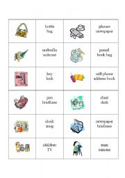 English Worksheet: Memory Game - Objects and Prepositions of Place