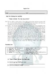 English Worksheet: The Stop and Go Stress