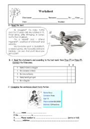 English Worksheet: Harry Potter
