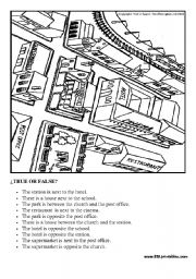 English Worksheets: Prepositions in the city: true or false worksheet