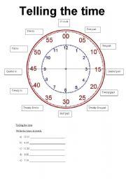 english worksheet telling time. Black Bedroom Furniture Sets. Home Design Ideas