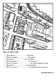 English Worksheets: Prepositions in the city: fill in the gaps