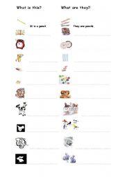 English Worksheet: singular and plurals