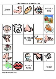 English Worksheet: The body rhymes board game