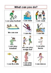 English Worksheets: Expressing abilities Can-Can�t 1