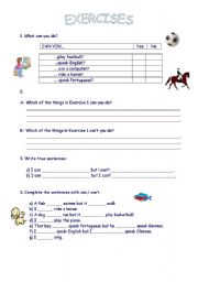 English Worksheets: Expressing abilities can-can�t 2