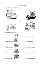 English Worksheets: English test action verbs