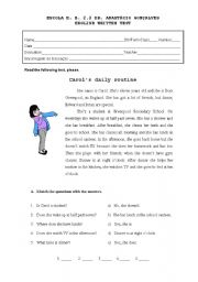 English Worksheet: Written Test