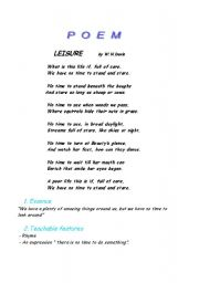 English Worksheet: Poem Lesson Plan