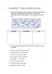 English Worksheets: Countable / Uncountable Nouns exercises