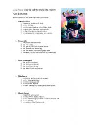 English Worksheet: Movie activity: Charlie and the chocolate factory