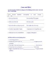 English Worksheet: cause and effect
