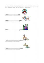 English Worksheets: PRESENT COUNTINUOS WH-QUESTIONS