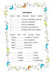 Grammar worksheets > Verbs > Verb tenses > Past tense
