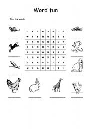English Worksheets: Animals Word Soup