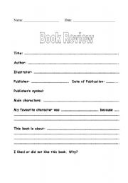 English Worksheet: Book Review