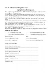 English Worksheets: Reading Comprehension activity