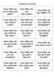 English Worksheet: How often do you ,,,