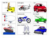 English Worksheet: transports flash cards