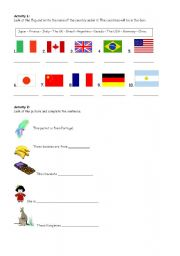 countries and flags esl worksheet by chaniss. Black Bedroom Furniture Sets. Home Design Ideas