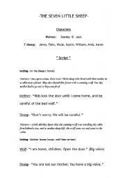 English Worksheets: The Seven Little Sheep