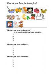 English Worksheet: meals