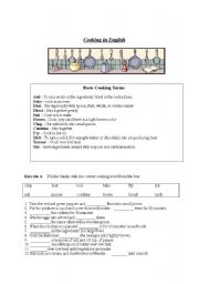 English Worksheet: Cooking in English