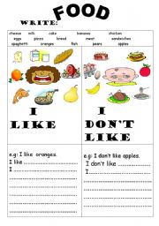 English Worksheet: FOOD