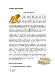 English Worksheets: Cats and Lions