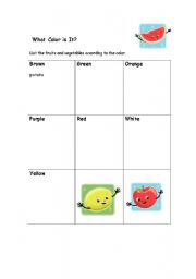 English Worksheet: What Color is the Fruit or Veggie?