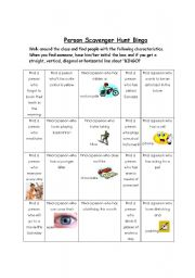 English Worksheet: Person Scavenger Hunt BINGO