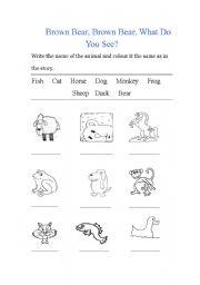 English Worksheet: Brown Bear Brown Bear Work sheet