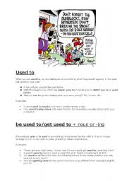 English Worksheet: USED TO (vs. be used to/get used to)
