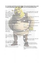 English Worksheet: Shrek Karaoke Dance Party