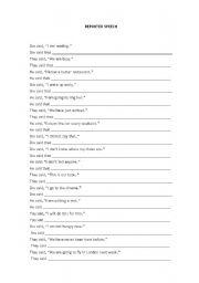 English Worksheets: REPORTES SPEECH