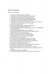 English Worksheets: 30 subject and verb agreement questions