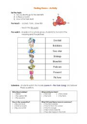 English Worksheet: Finding Nemo - Video Activity
