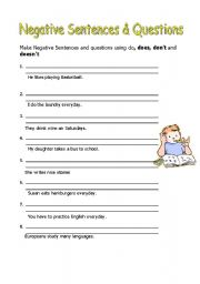 English Worksheets: Negative and Questions