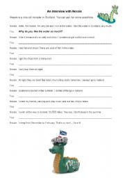 English Worksheet: The Loch Ness Monster - Interview II